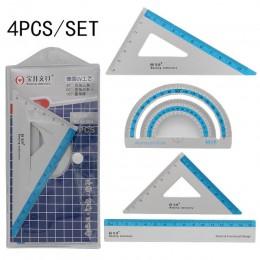 Nowy 4 sztuk/zestaw UV stopu aluminium linijka rysunek pomiar geometria trójkąt linijka prosto kątomierz różne linijki
