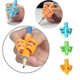 Pióro dziecięce narzędzie silikonowy palec 3 kolor ergonomiczna korekta postawy narzędzie pisanie ołówkiem obsadka do pióra żółt