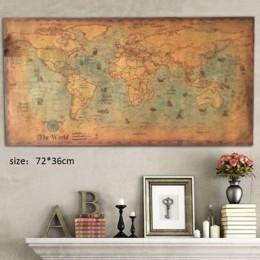 72*36cm morskie oceaniczne morze mapa świata Retro stary papier artystyczny malarstwo Home Decor plakat na ścianę szkolne materi