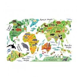 VODOOL mapa świata zwierząt kolorowe światowe naklejki dla dzieci dekoracje ścienne do domu diy do pokoju plakat artystyczny dla