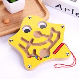 Zabawki montessori edukacyjne drewniane zabawki dla dzieci wczesne uczenie się labirynt magnetyczny Puzzle labirynt gra łamigłów