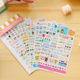 6 arkuszy/paczka Kawaii śliczne rysowanie rynku karteczki do planowania pamiętnik naklejki dekoracyjne pcv przezroczyste Scrapbo