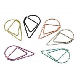 60 sztuk 6 kolorów materiał metaliczny upuść kształt spinacze do papieru śmieszne Kawaii zakładki biurowe Shool biurowe klipy do