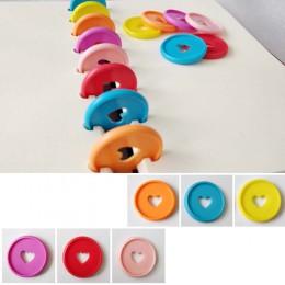 30 sztuk 35mm kolorowe serce segregatorów grzyb otwór luźny liść pierścień okrągły wiążące plastikowe klamry dyskowej Hoop DIY n
