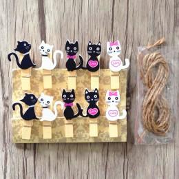 10 sztuk japoński kot drewniane klipy z liny konopne Mini ładny klip do żywności Kawaii drewno papier klip do torby uczniów narz