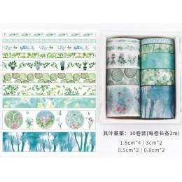 10 sztuk/pudło Fantasy Ocean piękne kwiaty rośliny liście taśma washi diy dekoracji do scrapbooking taśma klejąca taśma klejąca