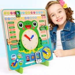 Drewniane zabawki Montessori dla dzieci pogoda sezon zegar z kalendarzem czas poznania w wieku przedszkolnym edukacyjne pomoce n