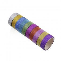 10 sztuk brokat taśma klejąca washi taśmy DIY dekoracyjne Scrapbooking kolor zdjęcia taśmy maskujące szkolne materiały biurowe