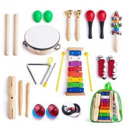 Instrumenty muzyczne dla malucha z torba do noszenia, 12 w 1 muzyka zabawka perkusyjna zestaw dla dzieci z ksylofonem, rytm zesp