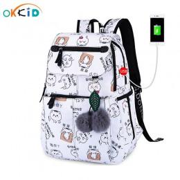 OKKID torby szkolne dla dziewczynek plecak na laptopa dla kobiet plecak na usb plecaki dla dzieci słodki kociak plecak szkolny d