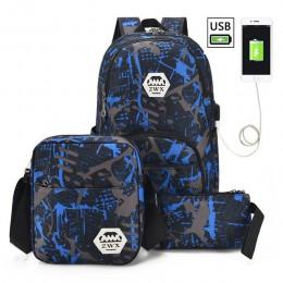 3 sztuk/zestaw USB męskie plecaki wysokie torby szkolne dla kobiet 2019 chłopcy jedno ramię duża torba podróżna dla studentów mę