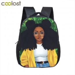12 cal cartoon śliczne afro dziewczyna plecak dla dzieci szkoła torby brązowy piękna księżniczka dla dzieci plecak przedszkolny