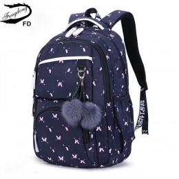 FengDong śliczne szkolne torby dla nastoletnich dziewcząt koreański styl szkolny plecak dla dziewczynek futrzane kule dekoracyjn