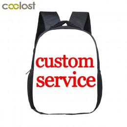 12 cali dostosuj swoje Logo nazwa obraz maluchy plecak Cartoon dzieci szkolne torby dziecko plecak przedszkolny torby na prezent