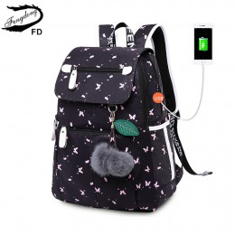 FengDong kobieta moda plecak szkolny usb torby szkolne dla dziewczynek czarny plecak pluszowa piłka dziewczyna tornister motyl d