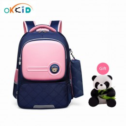 OKKID dzieci torby szkolne dla dziewczynek śliczne koreańskie style dzieci różowa torba ortopedyczny plecak szkolny dla chłopca