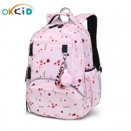 OKKID torby szkolne dla dziewczynek wodoodporny plecak na ucznia uroczy kwiat plecak plecaki dla dzieci plecak szkolny dla dziec