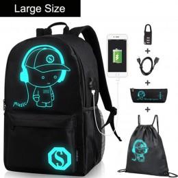 Anime Luminous szkoła oxford plecak plecak na ramię poniżej 15.6 cal z port ładowania usb i blokady tornister dla chłopca czarny