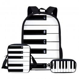 FORUDESIGNS zestaw tornistrów dla dzieci dla nastolatek chłopcy dziewczęta plecaki nuta torba na książki fortepianowe torba na r