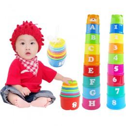 9 sztuk zabawy Mini układania puchar 6 miesięcy dziecko edukacyjne zabawki figurki litery składany kubek do nakładania wieża dzi