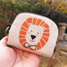 Śliczny portfel kobiet w stylu Vintage płótno powłoki monety kiesy pani portfel z saszetką na karty dzieci kreskówka totoro/Fox/