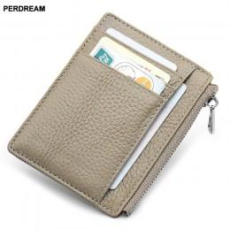 PERDREAM skóry wołowej skórzane portmonetki jednolity, na zamek Mini portfel dla kobiety dla dzieci moda dla dzieci etui na dowó