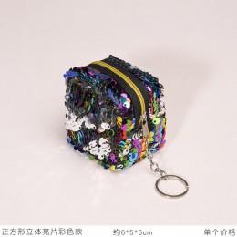 Cube portmonetka dziecięca zmień kolorowe cekiny Mini portfel kobiety modne bling Mini torebka cekinowa torba breloczek etui mał