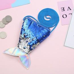 Dzieci kolorowe cekinami ogon syreny torba dziewczyny moda zamek portfel portmonetka etui