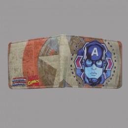 HUIMENG Comics Marvel Avengers Superhero kapitan ameryka tarcza Faux Leather składany portfel ID portmonetka prezent dla dzieci