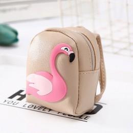 Casual Flamingo Mini plecak portmonetka kobiety mały portfel moda Pu brelok torebki Student Kid śliczne słuchawki pieniądze ręcz
