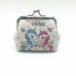 Cartoon skóra zwierzęca portmonetki kobiety Hasp małe portfele dla dzieci chłopcy śliczne jednorożec słoń Retro Mini portmonetka