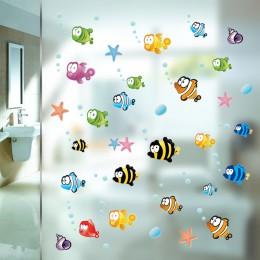 Podwodne ryby rozgwiazda ściana bąbelkowa naklejki na pokoje dla dzieci Cartoon przedszkole łazienka dzieci pokój Home Decor nak