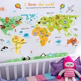 Świat kreskówek mapa pcv DIY samoprzylepne naklejki ścienne winylowe sypialnia Home Decor dla dzieci dekoracja pokoju artystyczn