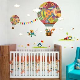 Kolorowe gorące powietrze balon w kształcie zwierzęcia przedszkole naklejka ścienna do pokoju niedźwiedź żyrafa pokój dziecięcy