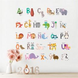 Cartoon Jungle wild 26 litery alfabetu zwierząt naklejki ścienne dla pokoje dla dzieci home decor dzieci plakat typu naklejka śc
