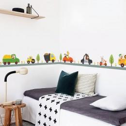 Samochodziki w stylu kreskówki pokój dziecięcy naklejki ścienne dla dzieci pokój chłopiec sypialnia naklejki ścienne okno plakat
