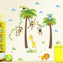 Żyrafa lew małpa palma zwierzęta leśne naklejki ścienne dla dzieci pokój sypialnia naklejki ścienne wystrój żłobka plakat Mural