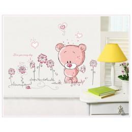 Śliczne różowe kreskówki zwierząt miłość niedźwiedź kwiat dziecko dzieci sypialnia wystrój pokoju naklejki ścienne dla dzieci na