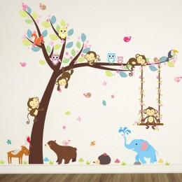 Las naklejka ścienna zwierzęta małpa niedźwiedź drzewo dla dzieci pokój dzieci naklejka przedszkole dekoracja sypialni plakat na