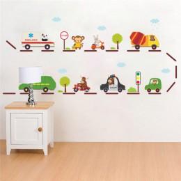 Cartoon Car highway naklejki ścienne na pokoje dla dzieci przedszkole dekoracja pokoju dziecięcego na ścianie naklejki na samoch