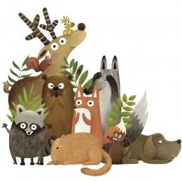 Zwierzęta leśne łoś lis królik naklejki ścienne dla dzieci pokój dzieci fototapeta przedszkole dekoracja sypialni plakat sztuka
