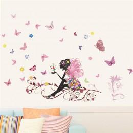 Piękna dziewczyna motyl kwiat artystyczna naklejka na ścianę do wystroju domu DIY osobowość Mural pokój dziecięcy dekoracja prze