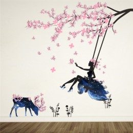 Romantyczna kwiatową wróżkę Swing naklejki ścienne dla dzieci dekoracja ścienna do pokoju sypialnia salon dzieci pokój dziewczyn