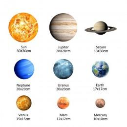 9 sztuk/zestaw 9 Planet układ słoneczny fluorescencyjne na ścianę Stick The Universe Planet Galaxy dzieci pokój sypialnia świecą