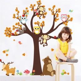 Leśne drzewo oddział liść kreskówka zwierzęta sowa małpa niedźwiedź Deer naklejki ścienne dla pokoje dla dzieci chłopcy dziewczę