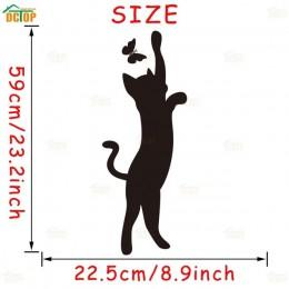 Piękny kot zagraj naklejka na ścianę z motylem DIY zwierząt kotek etykiety winylowe dziewczyny sypialnia Home Decor słodki kocia