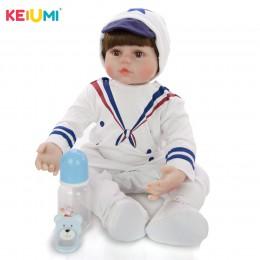 60 cm realistyczne Reborn lalki miękkiego silikonu winylu laleczka bobas Cosplay granatowy mundurek zabawka dla dziecka prezent