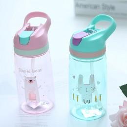 450ml butelka ze słomką dla dzieci BPA bezpłatne dzieci picie wody czajnik zdrowe plastikowe przenośne butelki sportowe