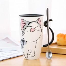 Kreatywny kolorowy kot żaroodporny kubek kreskówka z pokrywką 450ml kubek kotek ceramika do kawy kubki dzieci kubek do biura do