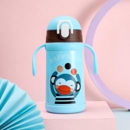 350ml przenośny kubek termiczny ze stali nierdzewnej ze słomką BPA Free Cartoon termosy dla dzieci Travel Thermal Water Bottle